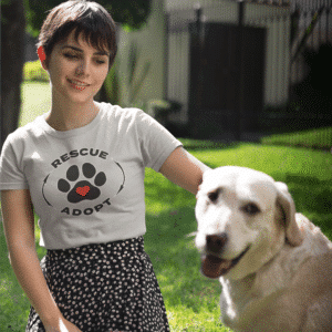 Woman wearing our rescue and adopt t-shirt