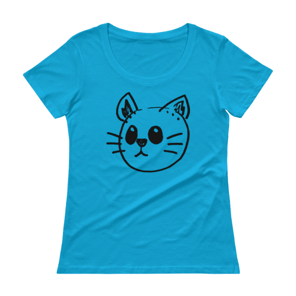 blue cat face t-shirt