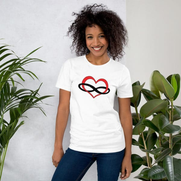 polyamory heart t-shirt in white