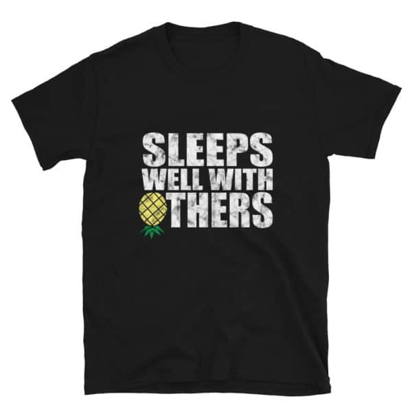 Sleeps well with others men's t-shirt in black