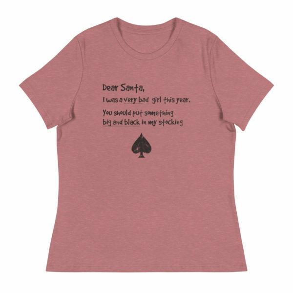 Women's I've been naughty santa ace of spades shirt - berry