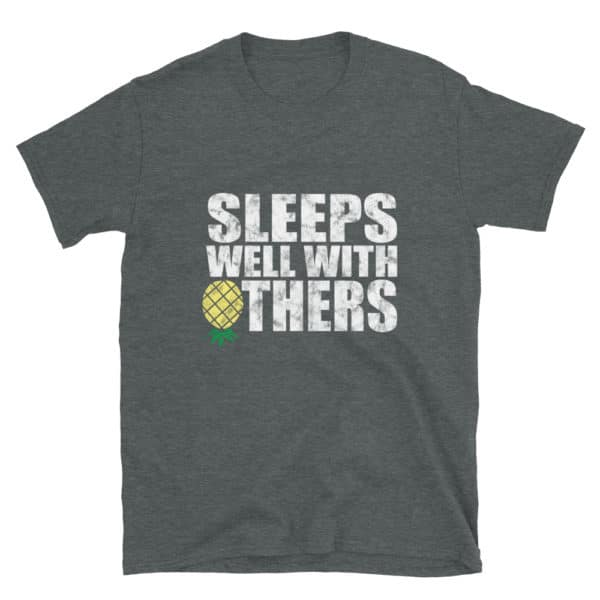 Sleeps well with others men's t-shirt in heather