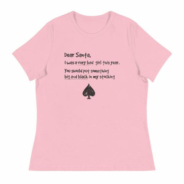 Women's I've been naughty santa ace of spades shirt - pink