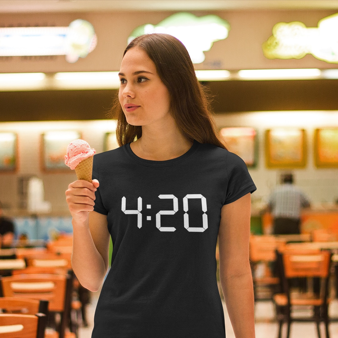 Girl wearing a 4:20 tshirt for pot smoker and weed lovers