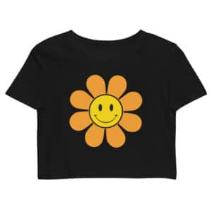 Orange Retro Flower Organic Crop Top