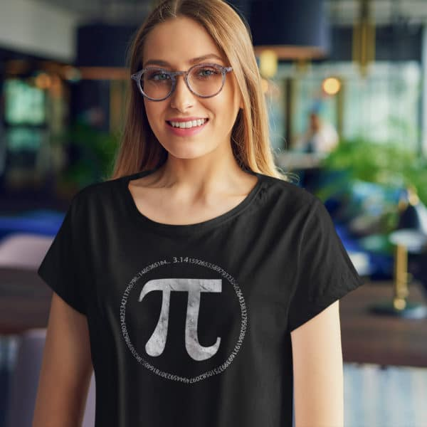 nerdy girl wearing a Pi day circle numbers of Pi t-shirt