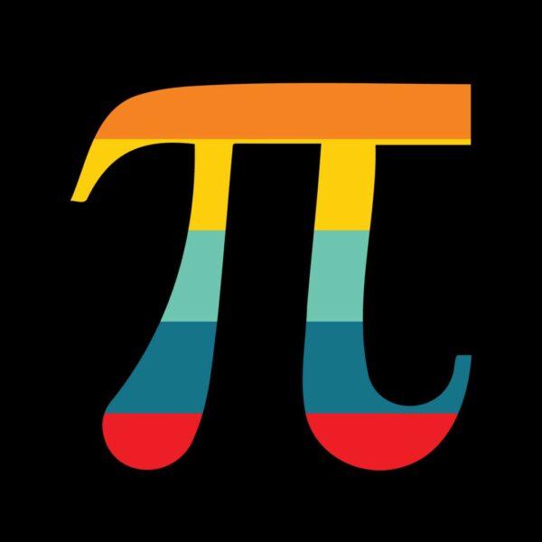 retro colors Pi Day symbol for Pi Day