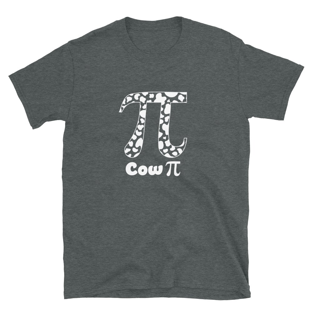 heather cow Pi Tshirt for Pi Day