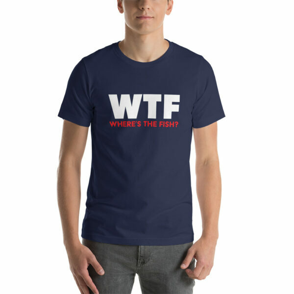 navy WTF Where's the fish fishing t-shirt