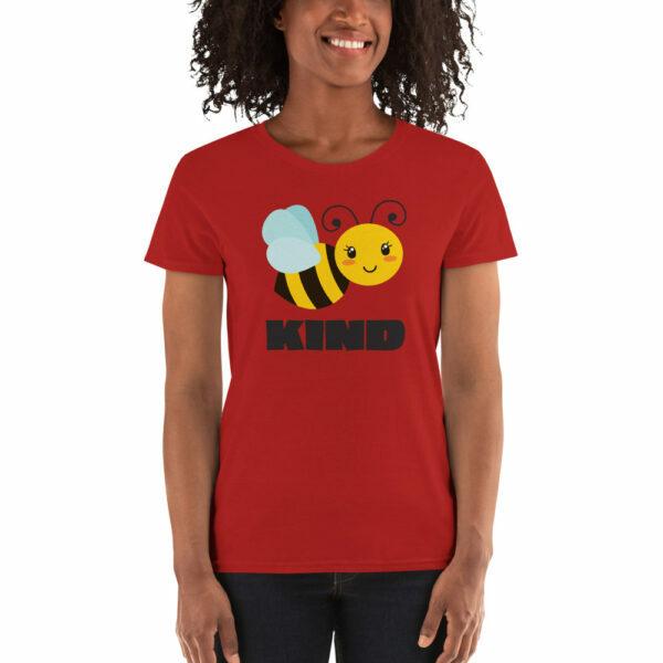 Red women's bee kind teacher shirt
