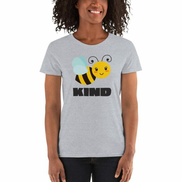 heather gray women's bee kind teacher shirt