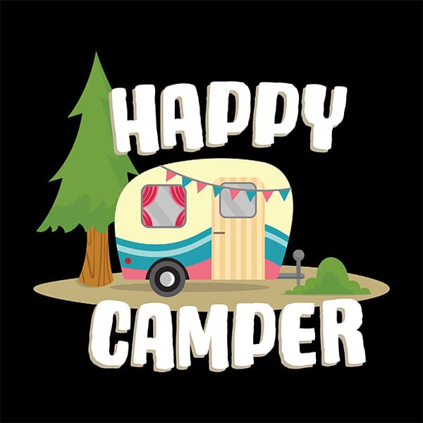 tow behind trailer happy camper t-shirt