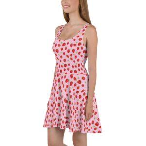 Pink Strawberries Cottagecore Skater Dress