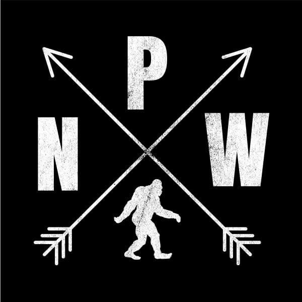 Black PNW Crossed Arrows Bigfoot t-shirt
