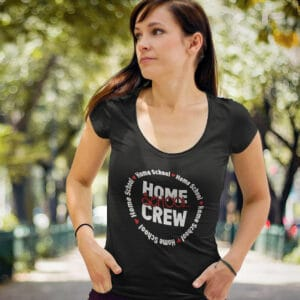 woman wearing a home school crew scoop neck t-shirt