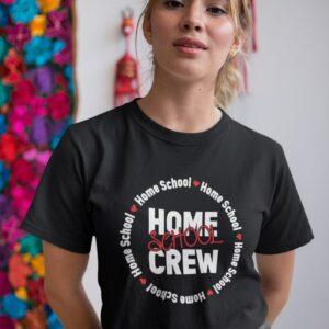 woman wearing a home school crew t-shirt
