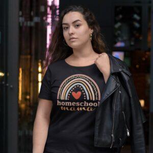 woman wearing a Homeschool Mama t-shirt